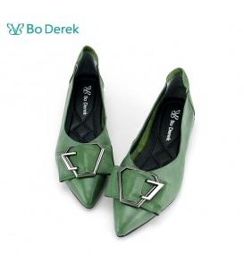 Bo Derek 尖頭扣環減壓平底鞋-綠色
