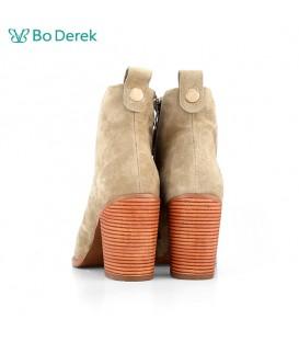 Bo Derek 綁帶側拉鍊粗跟短靴-卡其色