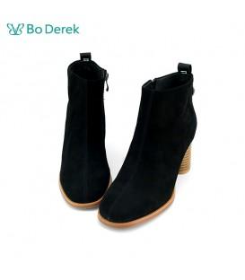 Bo Derek 條帶字母點綴高跟短靴-黑色