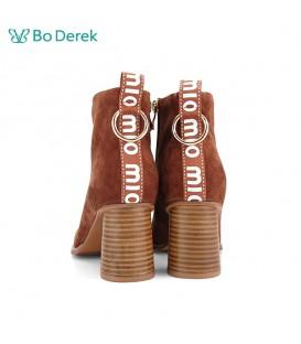 Bo Derek 條帶字母點綴高跟短靴-焦糖色