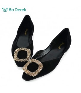 Bo Derek 鑽飾側空平底鞋-黑色