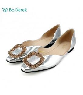 Bo Derek 鑽飾側空平底鞋-銀色