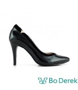 Bo Derek 拼接美型側V尖頭高跟鞋-黑色