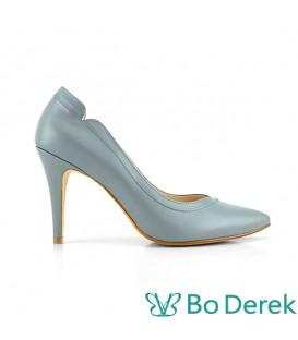 Bo Derek 拼接美型側V尖頭高跟鞋-藍綠色