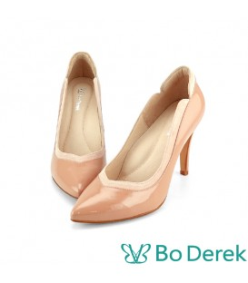Bo Derek 拼接美型側V尖頭高跟鞋-奶茶色