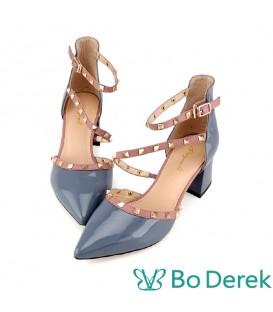 Bo Derek 漆皮鉚釘繞踝側空高跟鞋-藍紫色