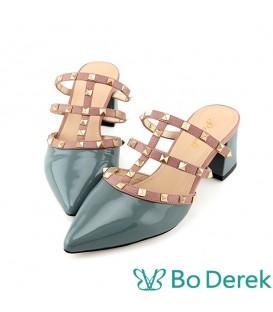Bo Derek 漆皮尖頭鉚釘穆勒鞋-藍色