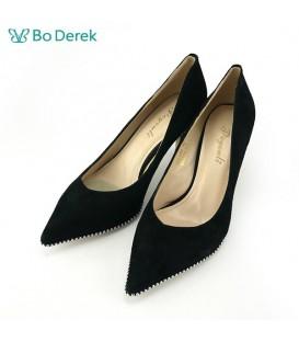 Bo Derek 金屬珠飾尖頭高跟鞋-黑色