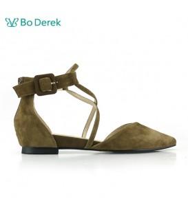 Bo Derek V型細線交叉扣環平底涼鞋-墨綠色