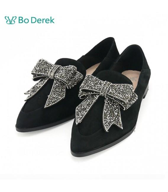 Bo Derek 大蝴蝶結鑽麂皮平底鞋-黑
