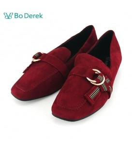 Bo Derek  平結飾環方頭平底鞋-紅