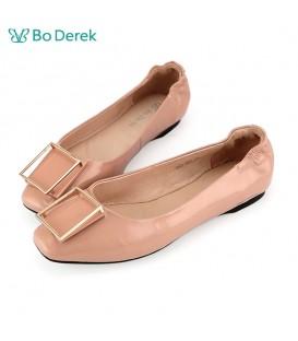 Bo Derek  立體金屬方塊飾扣娃娃鞋-粉膚