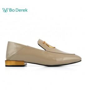 Bo Derek 方頭漆皮樂福鞋-卡其灰