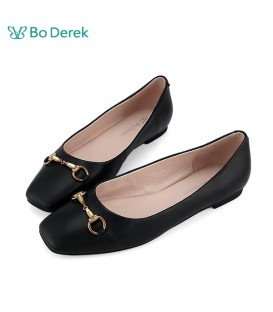 Bo Derek 馬銜扣素面平底鞋-黑