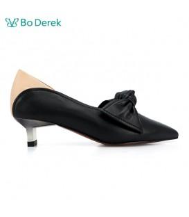 BO DERDK 蝴蝶結撞色尖頭跟鞋-黑膚色