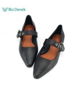 Bo Derek 珍珠飾扣環瑪莉珍平底鞋-黑色
