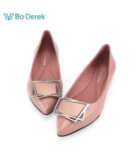 Bo Derek 幾何方塊飾平底鞋-粉色