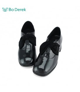 Bo Derek 蝴蝶結漆皮粗跟鞋-黑色